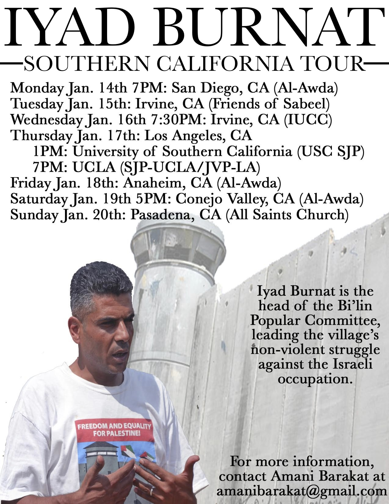 Iyad Burnat Southern California Tour